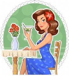 拿酒杯的美女插画