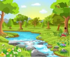 春天的小河风景插画