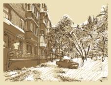 手绘冬天里的风景