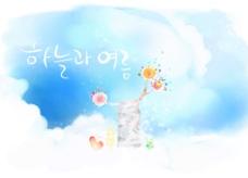 蓝色韩国时尚花纹