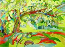 大树的风景插画