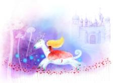 卡通韩国手绘木马背景