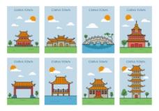 手绘扁平中国景点插画素材