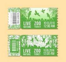 2款绿色动物园门票矢量