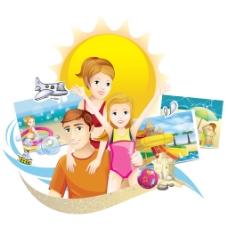 夏日旅游度假一家人矢量插画素材