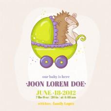 婴儿车里的刺猬插画