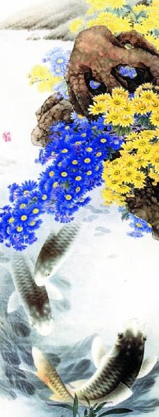 国画 油画 风景画 荷叶 鲤