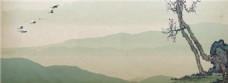 水墨梅花树枝背景图