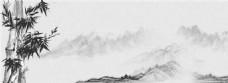 水墨远山竹子背景图