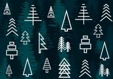 树林线条矢量背景