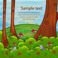 绿色森林卡通图案