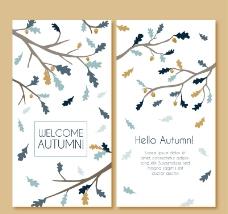 素色秋季树枝卡片矢量