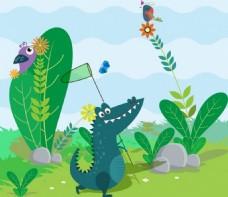 野生动物的背景色卡通风格的鳄鱼图标