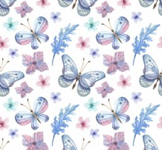 素色蝴蝶和花卉无缝背景矢量