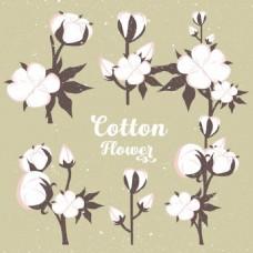 棉花花朵背景复古色设计免费矢量