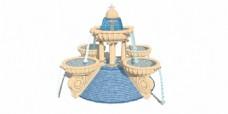 两层喷泉SKP景观效果图