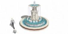 欧式柱形喷泉
