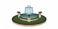 绿色喷泉效果图