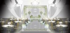 灰白色婚礼舞台背景效果图
