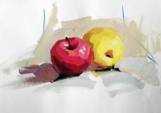 红黄苹果绘画静物装饰画