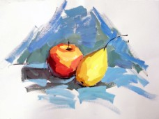 水粉静物水果装饰画