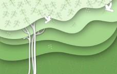 绿色小树白鸽3D立体背景墙