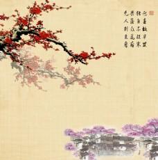 中式梅花水乡咏梅背景墙壁画客厅餐厅书房