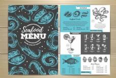 手绘海鲜餐厅宣传单
