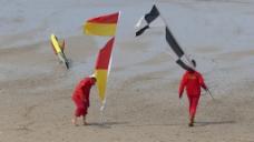 手拿旗帜的两人走在沙滩上