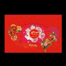 牡丹花大红色中式婚礼背景
