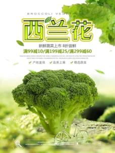 绿色清新西兰花蔬菜促销海报
