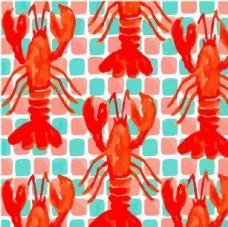 手绘龙虾 儿童服转花型