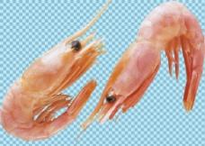 两只红色小虾免抠png透明图层素材