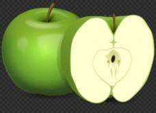 绿色切开的苹果图片免抠png透明图层素材