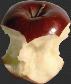 被吃了一部分的苹果免抠png透明图层素材