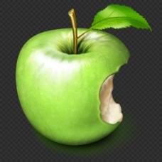 被咬一口的绿苹果图片免抠png透明素材