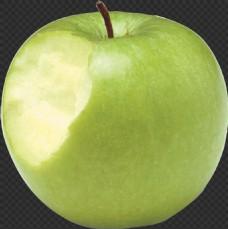 咬一口的绿苹果图片免抠png透明图层素材