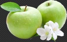 两只青苹果图片免抠png透明图层素材