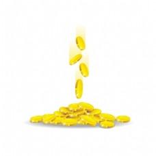 金色金币财富元素