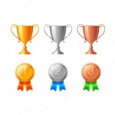彩色奖杯奖牌元素