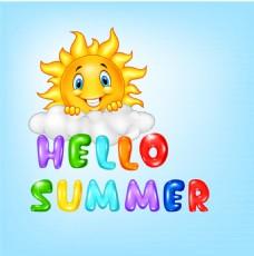 你好夏季艺术字和卡通太阳矢量素材