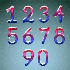 10个落上雪花的数字矢量素材