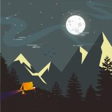 夜晚扁平景观插画