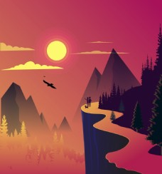 扁平黄昏野外景观插画