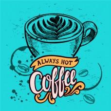 复古手绘咖啡海报矢量素材