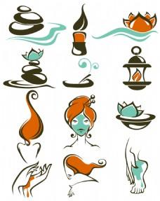 手绘创意美容SPA用品图标