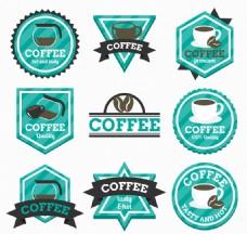 9款蓝绿色咖啡标签矢量