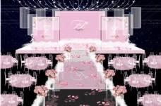 粉色婚礼舞台布置效果图