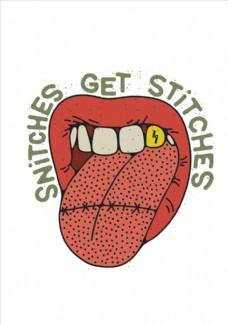 嘴唇牙齿舌头矢量图
