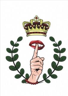 树枝手势嘴唇王冠矢量图下载